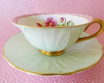 Shelley Begonia Teacup, Shelley Oleander Begonia Teacup, Mint Green Shelley Teacup, Vintage Shelley Tea Cup, NO 49