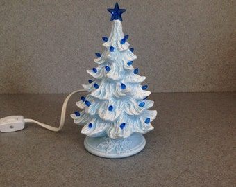 Christmas tree Ceramic Blue stained lighted Christmas Tree, Small 7 inch, tree,   (ready to ship) #7BsBtBs