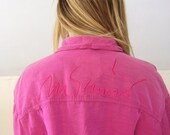 30% off ... Barbie Fuchsia Pink MOSCHINO Jeans Crop Button Drown Bomber Jacket Top - Vintage 80s - Italian Designer - M L