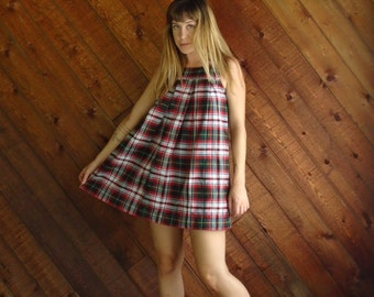 Red Plaid Mini Jumper School Dress - Vintage 90s - XS