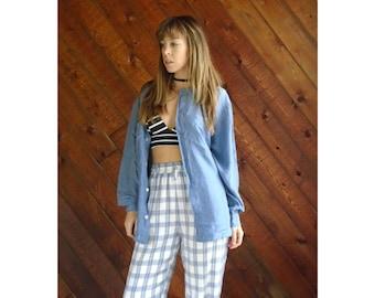 Blue Grey Long Sleeve Silk Blouse Shirt - Vintage 90s - LARGE L