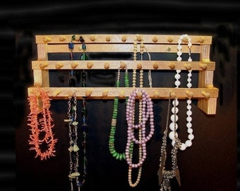 ON SALE Necklace Holder Storage Hanging   18 inches with 2 inch pegs