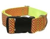 """Greek Key Wide Dog Collar 1.5"""" Big Dog Collar"""