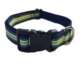 Lime Green and Navy Stripe Dog Collar