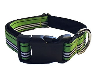 """1"""" Green Stripe Dog Collar Buckle or Martingale"""