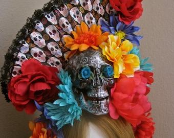 Bella Dama: Day of the Dead Headpiece SKULL Flowers Senorita FAN Floral Headband Bright Colorful Black Net Veil One of a Kind Morticia Snow