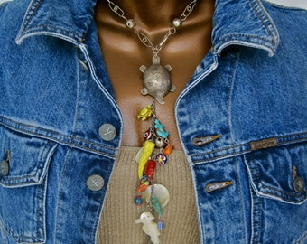 Gifts from the Sea: Turtle Totem Choker Y Necklace Spirit Guide Multicolored Amulets Charms Mother of Pearl Seahorse Vintage Assemblage