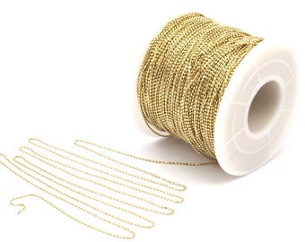 Tiny Brass Chain, Raw Brass Faceted Ball (0.8mm) Chain Z105