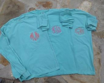 Lagoon Blue Monogrammed Comfort Color Pocket T.  Monogrammed Pocket T. Short or Long sleeves S, M, L, XL, 2X, 3X