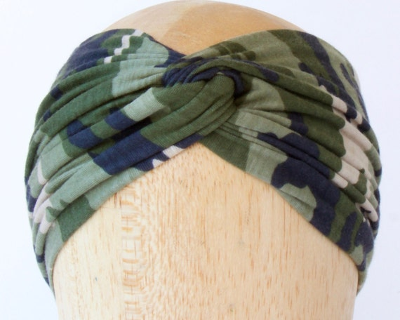 Camo Headband Women Camo Headwrap Army Style Camouflage Turban Headband Gift For Her Boho Chic Beach Style Women's Headband Military Style