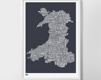 Wales Type Map, Wales Word Map, Wales Text Map, Wales Wall Poster, Wales Art Print, Wales Map, Wales Typographic Map, Wales Artwork
