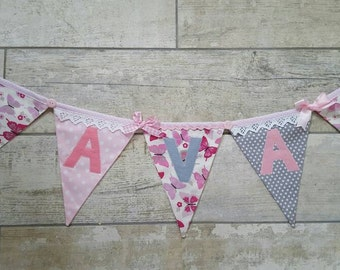 PRETTY BUTTERFLY Pink and Grey Bunting Banner lovely for a Girl's Room, Party, Celebration or Photo prop can be Personalized Custom Made
