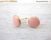 Sale 20% OFF Karen Post Earrings, minimalist pink resin enamel studs