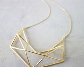 Sale 20% OFF Long Structure Necklace, Geometric necklace, signature necklace, Architectural jewelry,