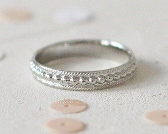 Dotted Band Ring, White Gold Wedding band. Wedding Ring, Stackable Ring, Stacking, Anniversary Ring, Beaded Ring
