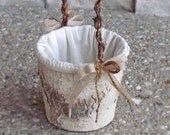 Round Rustic Birch Flower Girl Basket for your Wedding