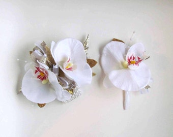 Sale Priced...White Orchid Corsage accented with Gold & Champagne with matching Boutonniere...Ready to Ship