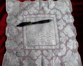 Hand Woven Hand Embroidered Pure Linen Vintage Handkerchief Hankie Hanky or Doily. Original Foil Label. Spring SALE. FREE SHIPPING Too.