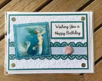 Mermaid Birthday Card, Hand Crafted Mermaid Card