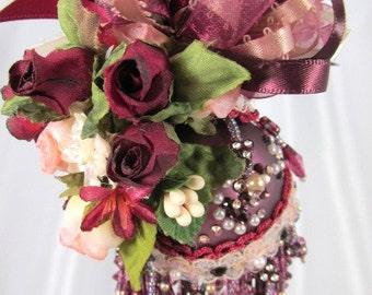Burgundy Plum and Light Peach Beaded Victorian Ornament with 70 Swarvoski Crystals