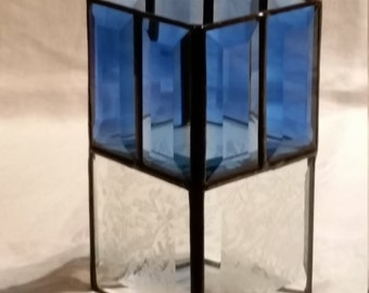 Blue Reversible Candle Holder Stained Glass Leaded Glass Beveled
