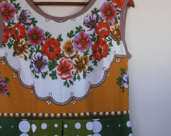 floral and spot...vintage tablecoth 1950s style tea dress