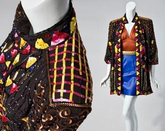 80s Princess Cruises art deco sequin slouchy swing  silk jacket | OS