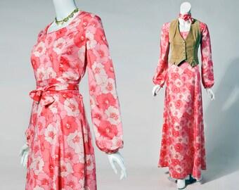 70s Marek MOD pink floral silk maxi dress balloon sleeves | medium-large