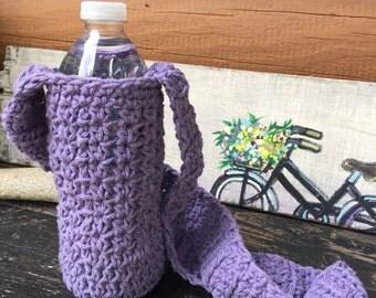 Crochet Water Bottle Holder - lavender