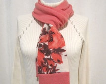 Gift for Her - Coral Pink Cashmere Scarf Neck Warmer Cowl Handmade from Recycled Felted Cashmere Wool Sweaters (No815)