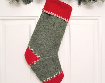 Dark Green Knit Customizable Christmas Stocking Personalized Holiday Decoration Handcrafted from Felted Wool Sweaters no710