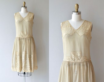 Rice Paper dress | vintage 1920s dress | cream lace 20s dress