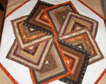 Quilted Blanket, Lap Quilt, Handmade, Fabric Wall Hanging, Star Spin, 58  x 58 Inches, Earth Tone Colors, Machine Quilted