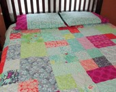 Queen Size Quilt With Pillow Cases , Queen Size Patchwork Quilt , Yellow Gray Coral Blue Green Quilt