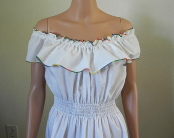 Vintage dress, 1980s Miss Dira, New York, white, yellow red green trim,  off the shoulder, Latin America, Spanish style, Medium, Large