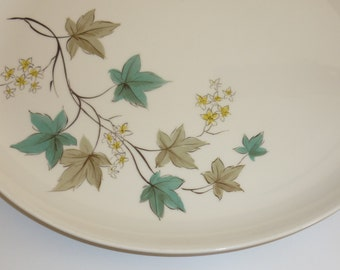"Syracuse China Woodbine Oval Serving Platter Large 12 5/8"" Vintage Turquoise Leaves Carefree True China"