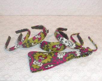 Preppy Boho Gray Lime Pink Damask Headband in 6 Sizes