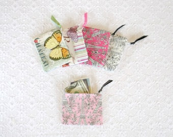 Paris Boho Chic Floral Eiffel Tower Coin Purse 5 Colors