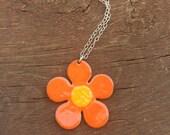 Custom orange yellow enamel flower pendant-reserved for Mabel