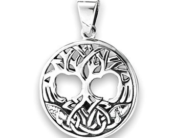 Celtic Tree of Life Sterling Necklace Pendant, Knot-work Symbolic Pendant in 925 Sterling Silver Amulet - Celtic jewelry