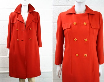 Beautiful Pristine Orange Vintage Roy H. Bjorkman and Fabric by Milano Button Up Jacket with Art Deco Buttons