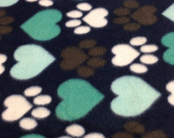 RaToob, Turquoise and Light Blue Hearts and Brown and White Paw Prints on Navy