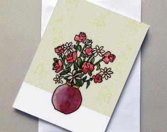 Roses, Vase, Flowers, Blank, Card, Greeting Card, Sale
