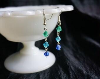 Green, blue & Teal drop earrings