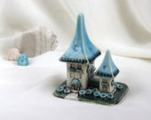 Reserved for Nancy - Turquoise-Brown Sky House of tiny fairies -- unique Hand Made Ceramic Eco-Friendly Home Decor by studio Vishnya