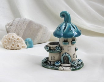 Summer Turquoise Sky fairy house with patio -- unique Hand Made Ceramic Eco-Friendly Home Decor by studio Vishnya