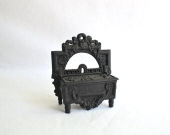 Vintage Cast Metal Match Safe-Match Holder-Rustic Cottage-Farmhouse Decor