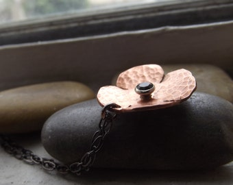 Bloom Pendant, flower pendant, copper flower pendant, Ready to ship