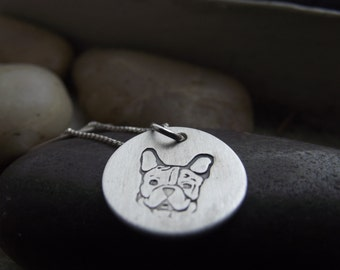 French bulldog Pendant, Sterling silver 5/8 pendant, Memorial pendant, Cremation pendant, French bulldog Pendant, Boston Terrier Necklace