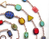 Extra Long Multicolor Necklace New Cooper Findings and Chain, ooak Necklace, handmade jewelry by  AnnaArt72